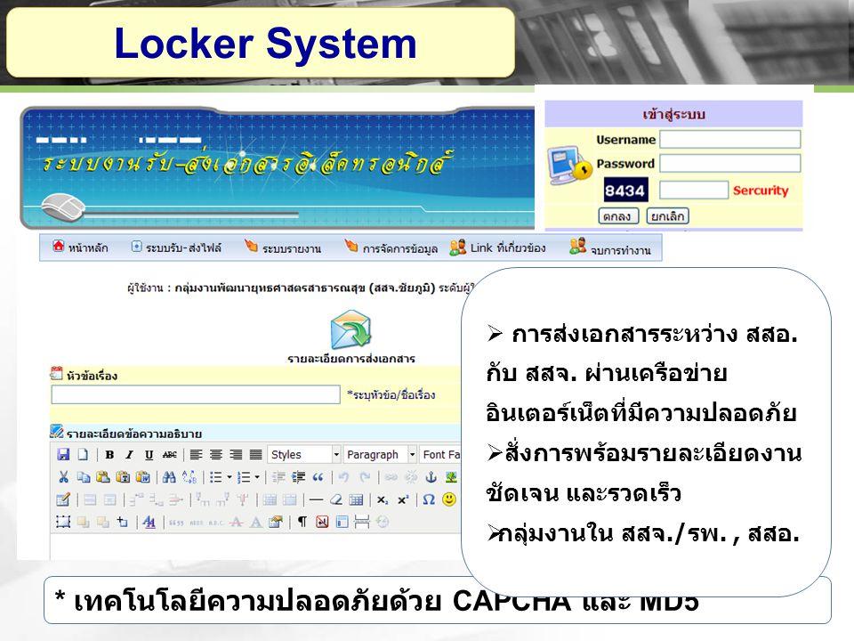 Locker System * เทคโนโลยีความปลอดภัยด้วย CAPCHA และ MD5