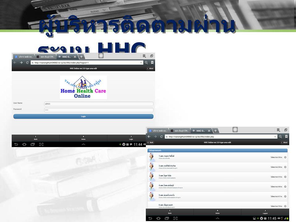 ผู้บริหารติดตามผ่านระบบ HHC