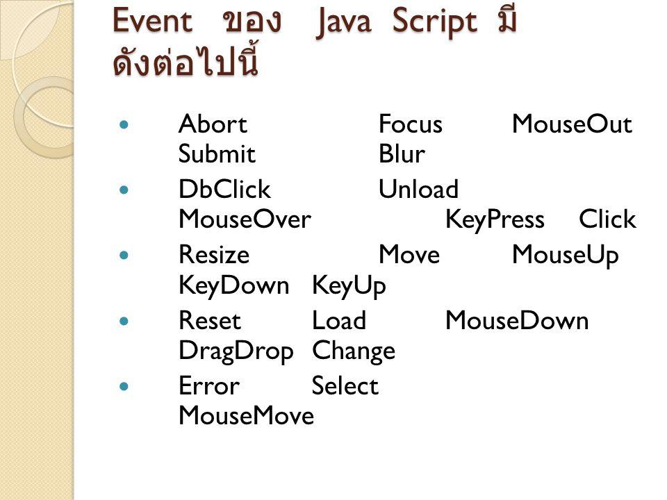 Event ของ Java Script มีดังต่อไปนี้