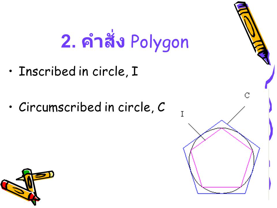 2. คำสั่ง Polygon Inscribed in circle, I Circumscribed in circle, C