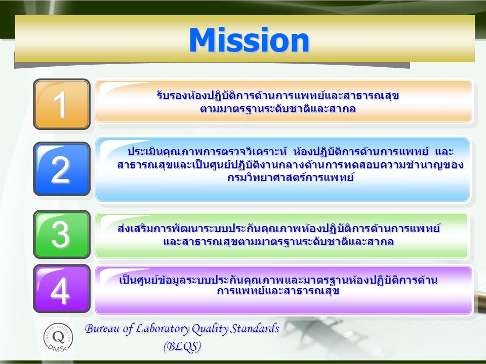1 2 3 4 Mission Bureau of Laboratory Quality Standards (BLQS)