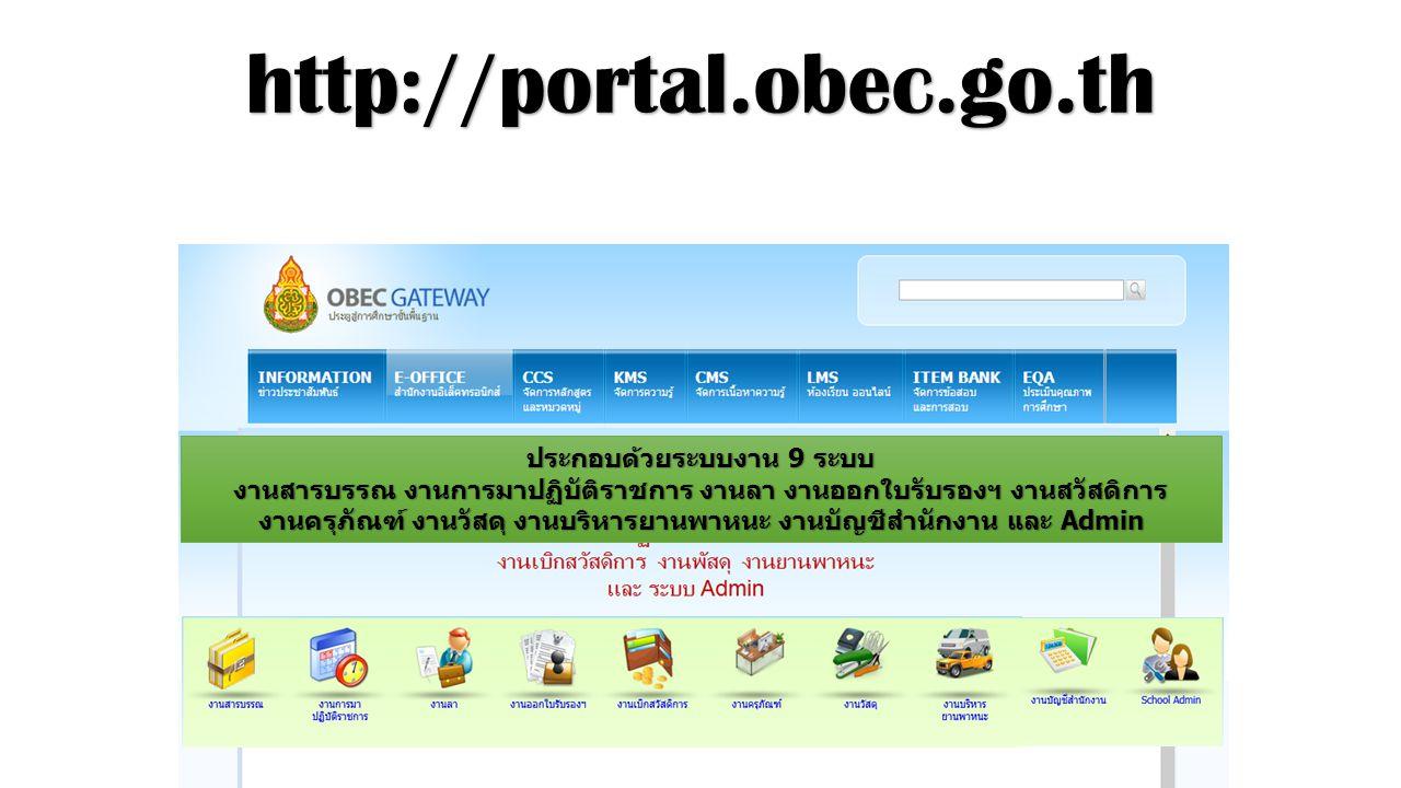 http://portal.obec.go.th ประกอบด้วยระบบงาน 9 ระบบ
