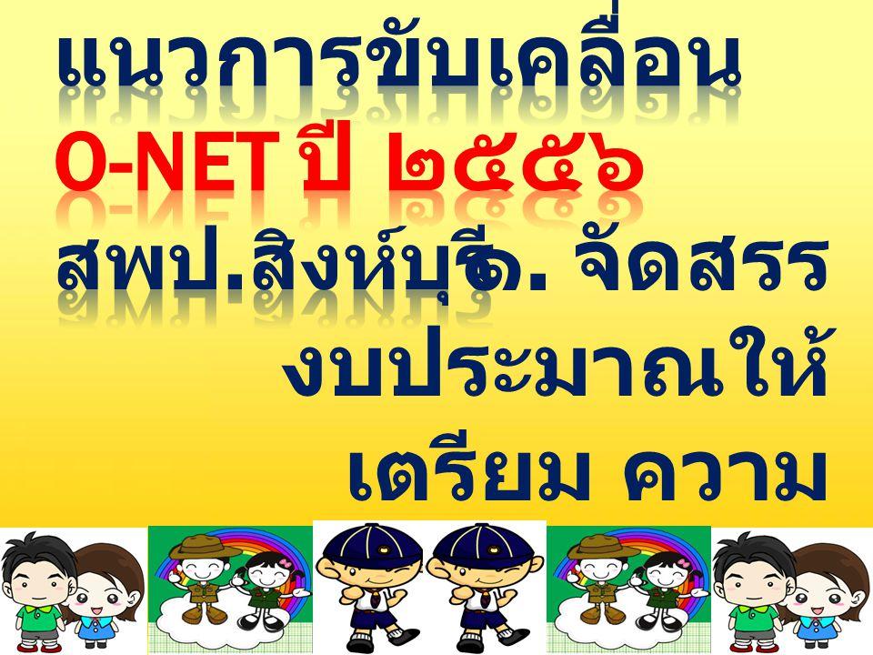 แนวการขับเคลื่อน O-NET ปี ๒๕๕๖ สพป.สิงห์บุรี