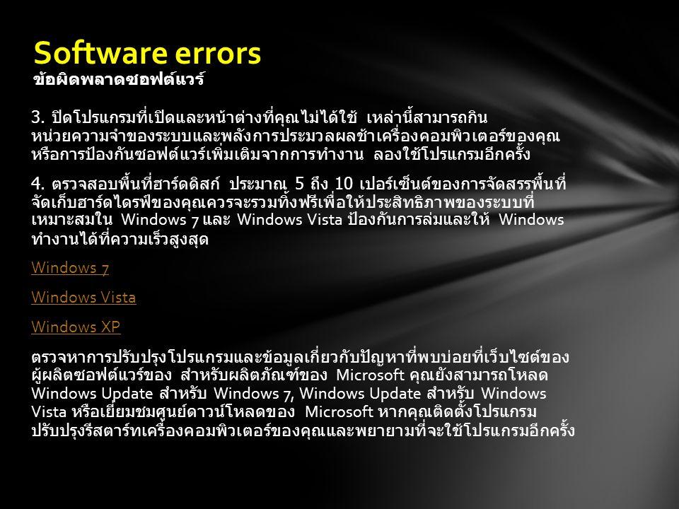 Software errors ข้อผิดพลาดซอฟต์แวร์