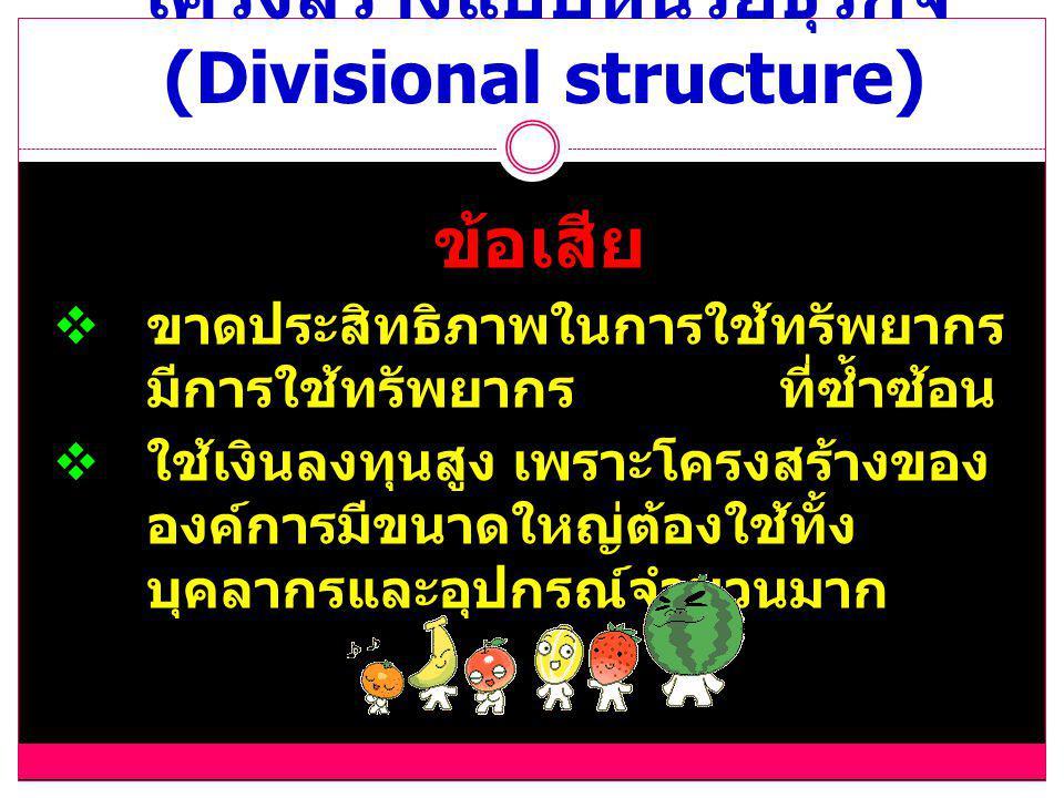 โครงสร้างแบบหน่วยธุรกิจ (Divisional structure)