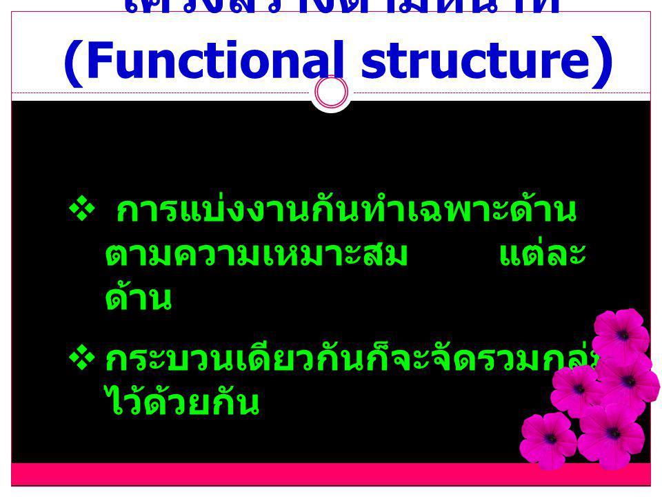 โครงสร้างตามหน้าที่ (Functional structure)