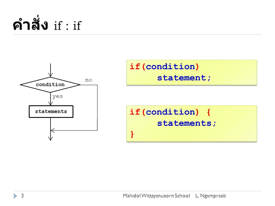 คำสั่ง if : if if(condition) statement; if(condition) { statements; }