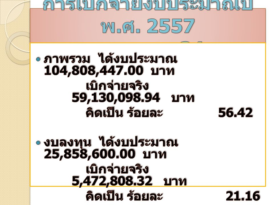 การเบิกจ่ายงบประมาณปี พ.ศ. 2557 ของ สพม.34