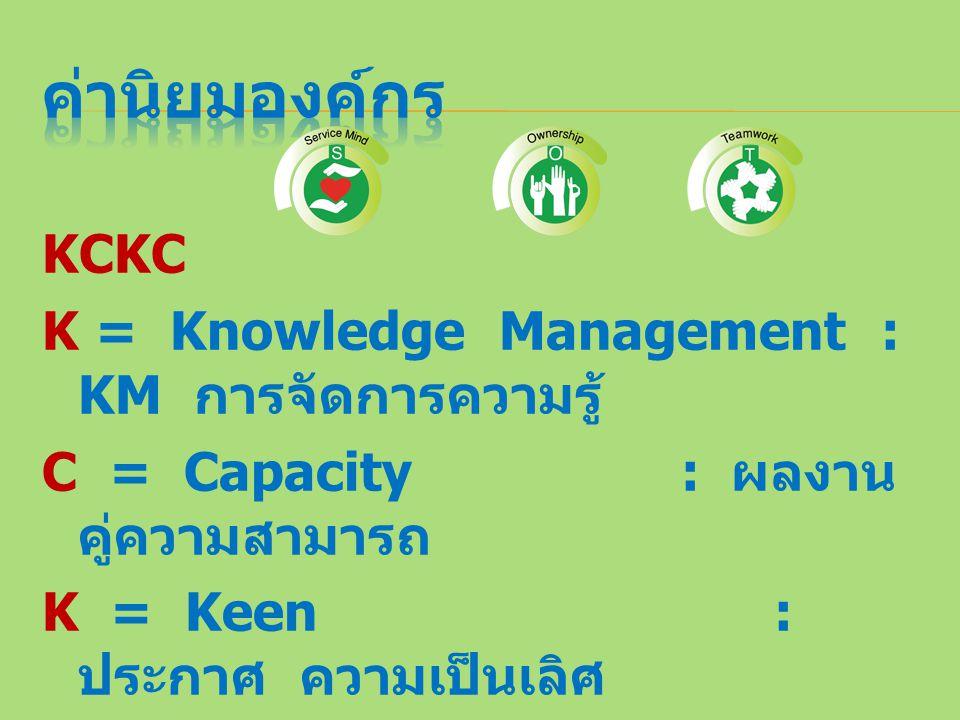 ค่านิยมองค์กร KCKC K = Knowledge Management : KM การจัดการความรู้