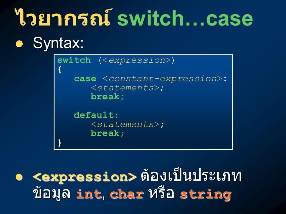 ไวยากรณ์ switch…case Syntax: