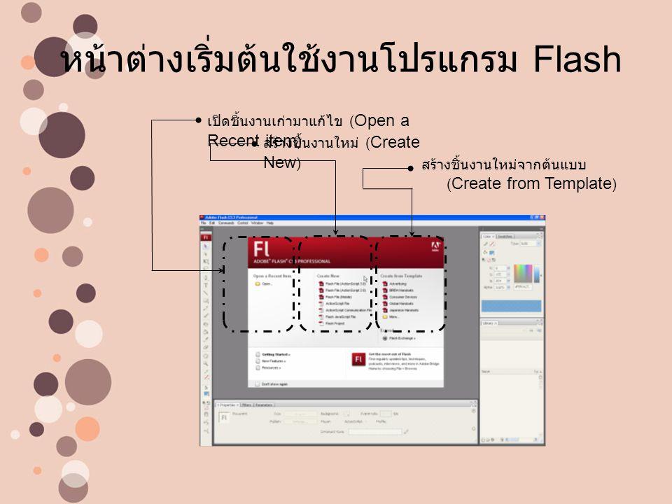 หน้าต่างเริ่มต้นใช้งานโปรแกรม Flash
