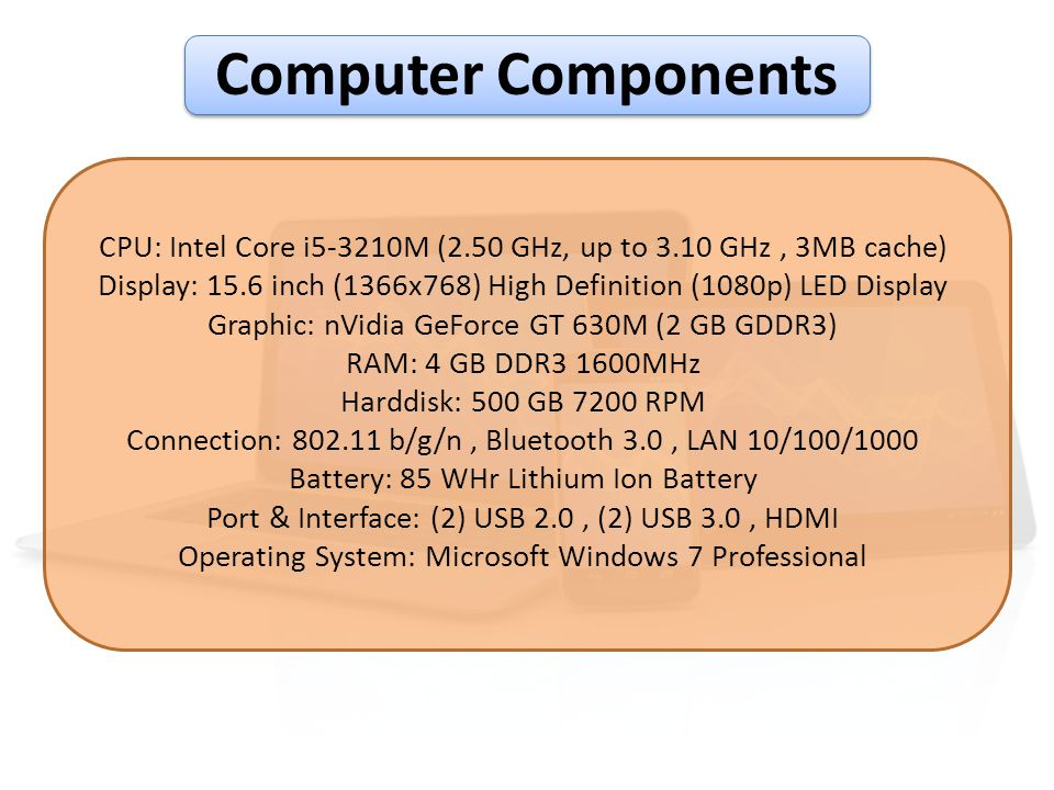 Computer Components CPU: Intel Core i5-3210M (2.50 GHz, up to 3.10 GHz , 3MB cache)