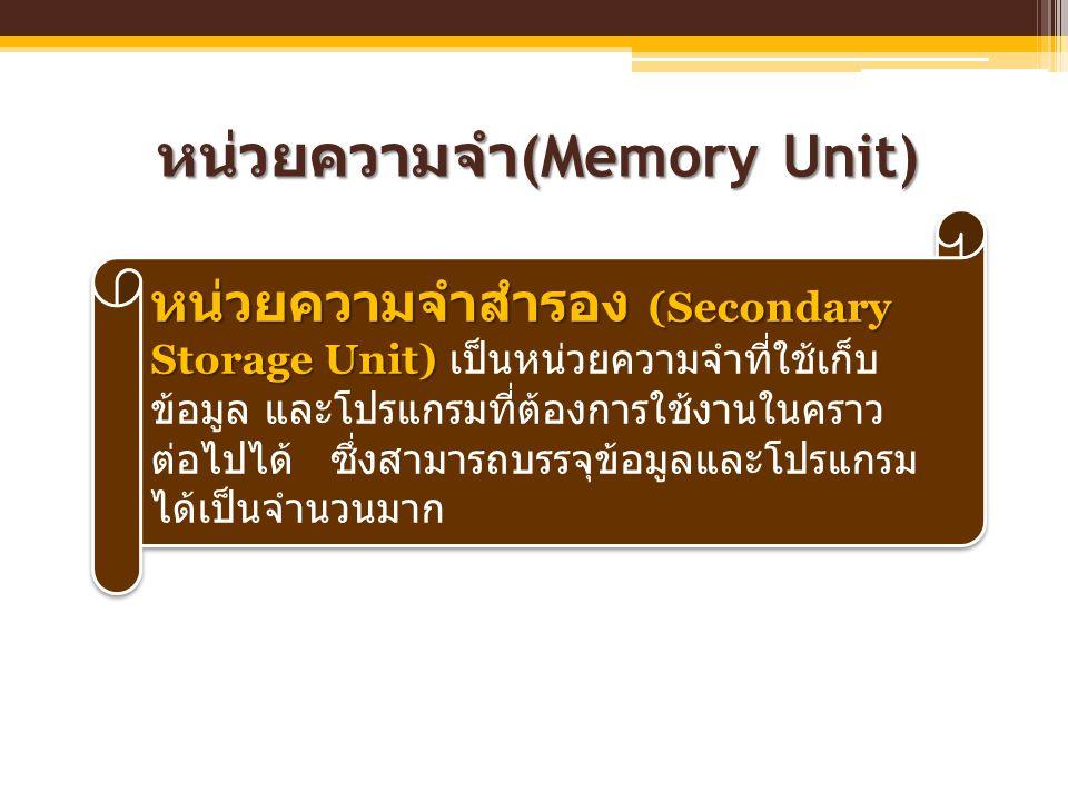 หน่วยความจำ(Memory Unit)