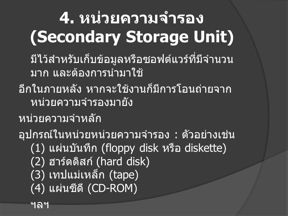 4. หน่วยความจำรอง (Secondary Storage Unit)