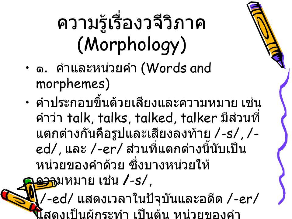 ความรู้เรื่องวจีวิภาค (Morphology)