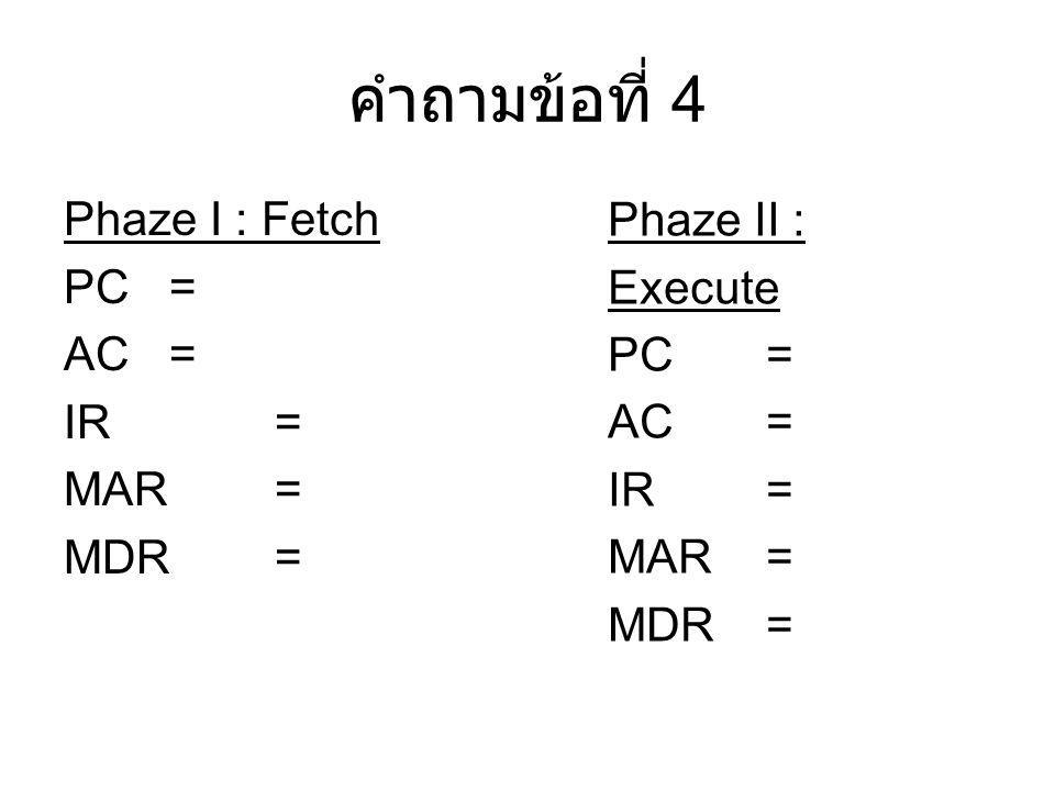 คำถามข้อที่ 4 Phaze II : Execute Phaze I : Fetch PC = PC = AC = AC =