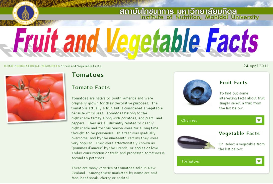 Fruit and Vegetable Facts