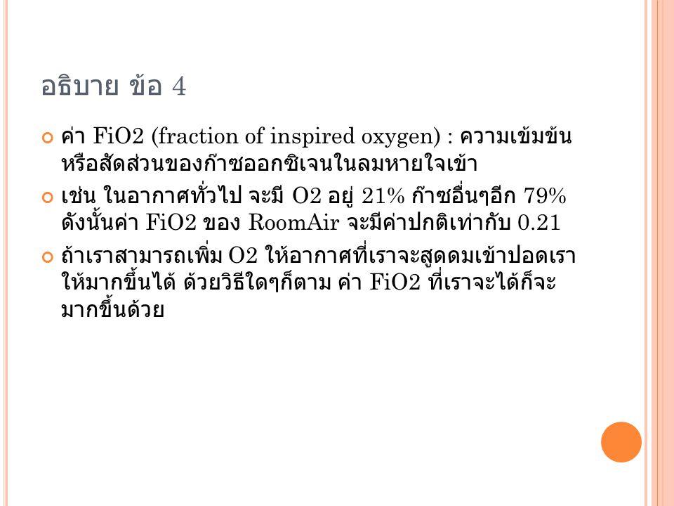 อธิบาย ข้อ 4 ค่า FiO2 (fraction of inspired oxygen) : ความเข้มข้นหรือ สัดส่วนของก๊าซออกซิเจนในลมหายใจเข้า.