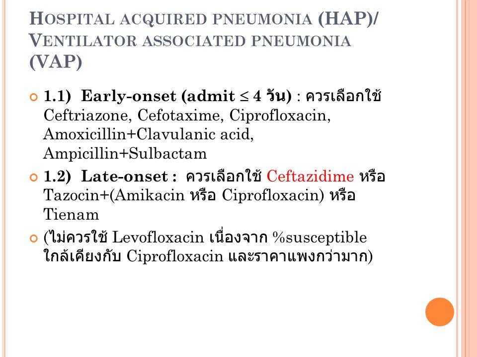 Hospital acquired pneumonia (HAP)/ Ventilator associated pneumonia (VAP)