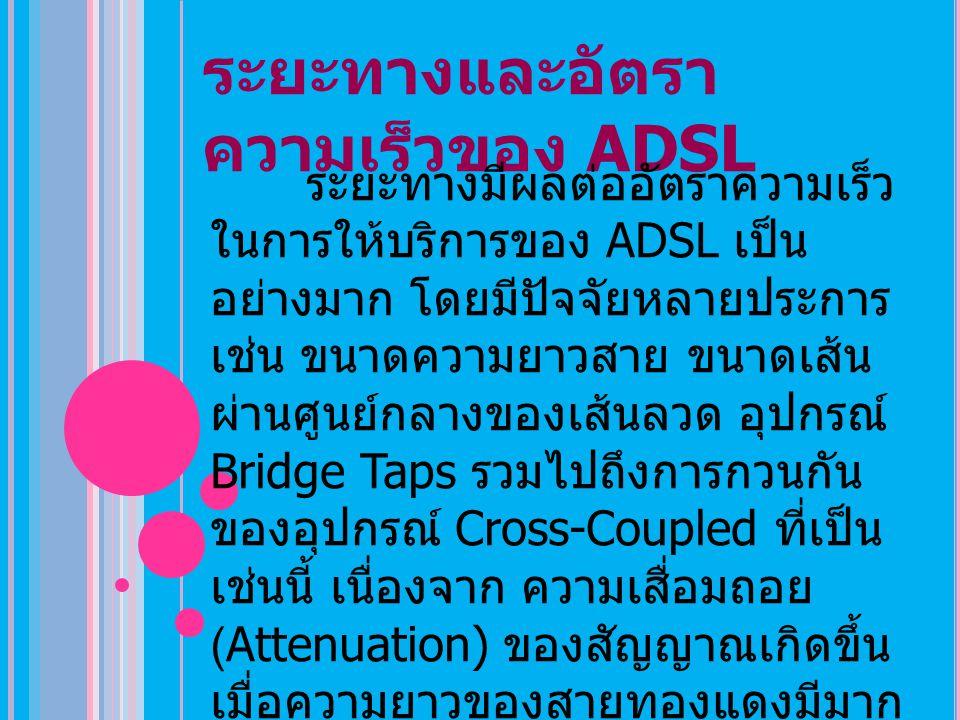 ระยะทางและอัตราความเร็วของ ADSL