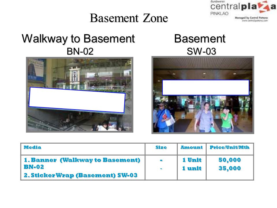 Basement Zone Walkway to Basement Basement BN-02 SW-03