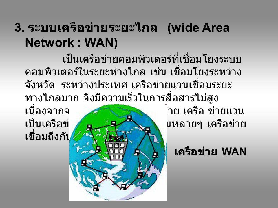 3. ระบบเครือข่ายระยะไกล (wide Area Network : WAN)