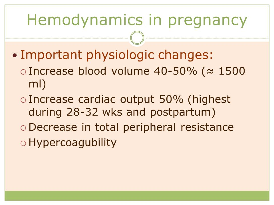 Hemodynamics in pregnancy