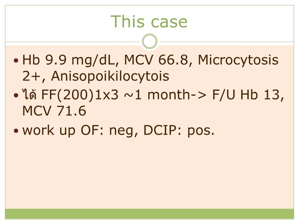 This case Hb 9.9 mg/dL, MCV 66.8, Microcytosis 2+, Anisopoikilocytois