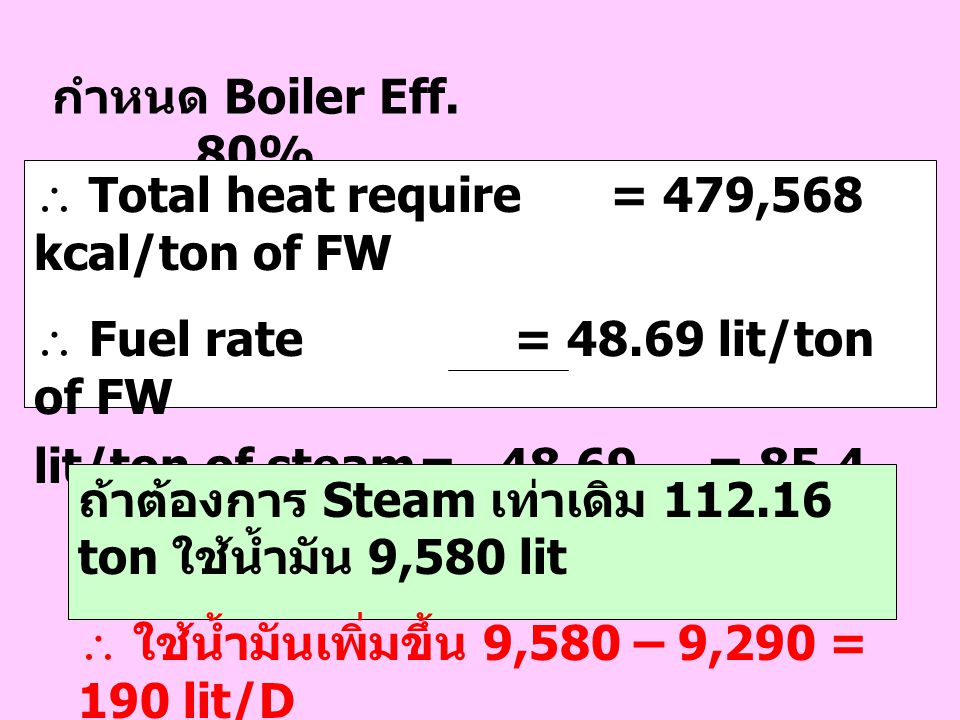 กำหนด Boiler Eff. 80%  Total heat require = 479,568 kcal/ton of FW.  Fuel rate = 48.69 lit/ton of FW.