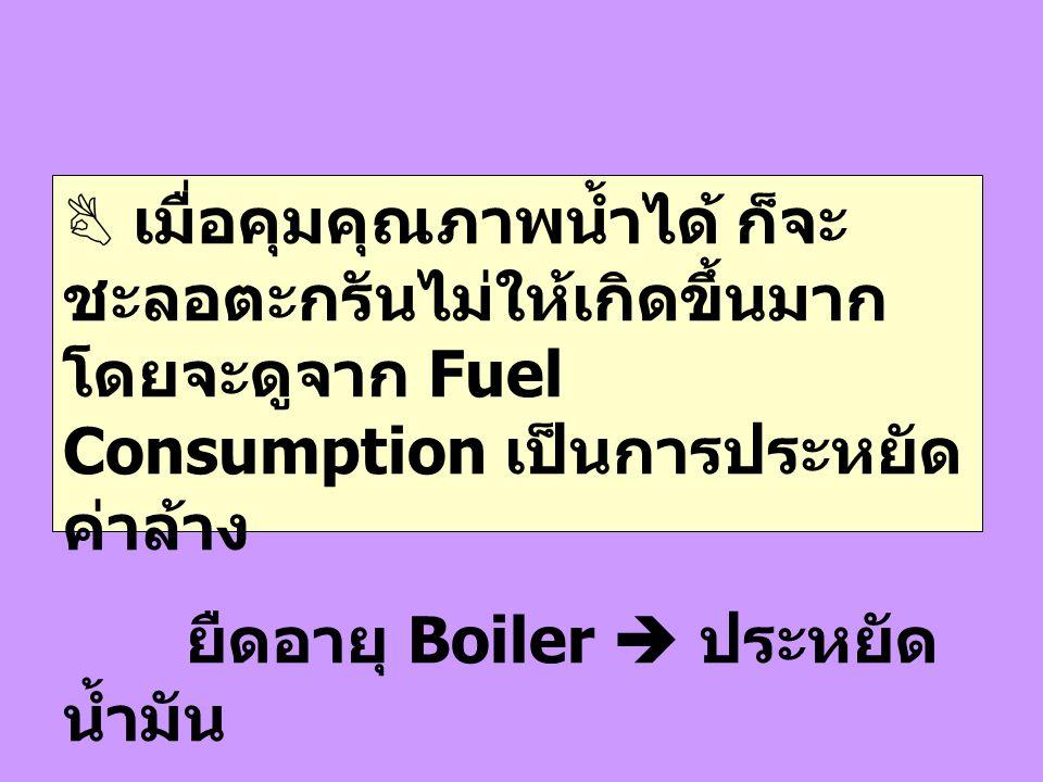 เมื่อคุมคุณภาพน้ำได้ ก็จะชะลอตะกรันไม่ให้เกิดขึ้นมาก โดยจะดูจาก Fuel Consumption เป็นการประหยัดค่าล้าง