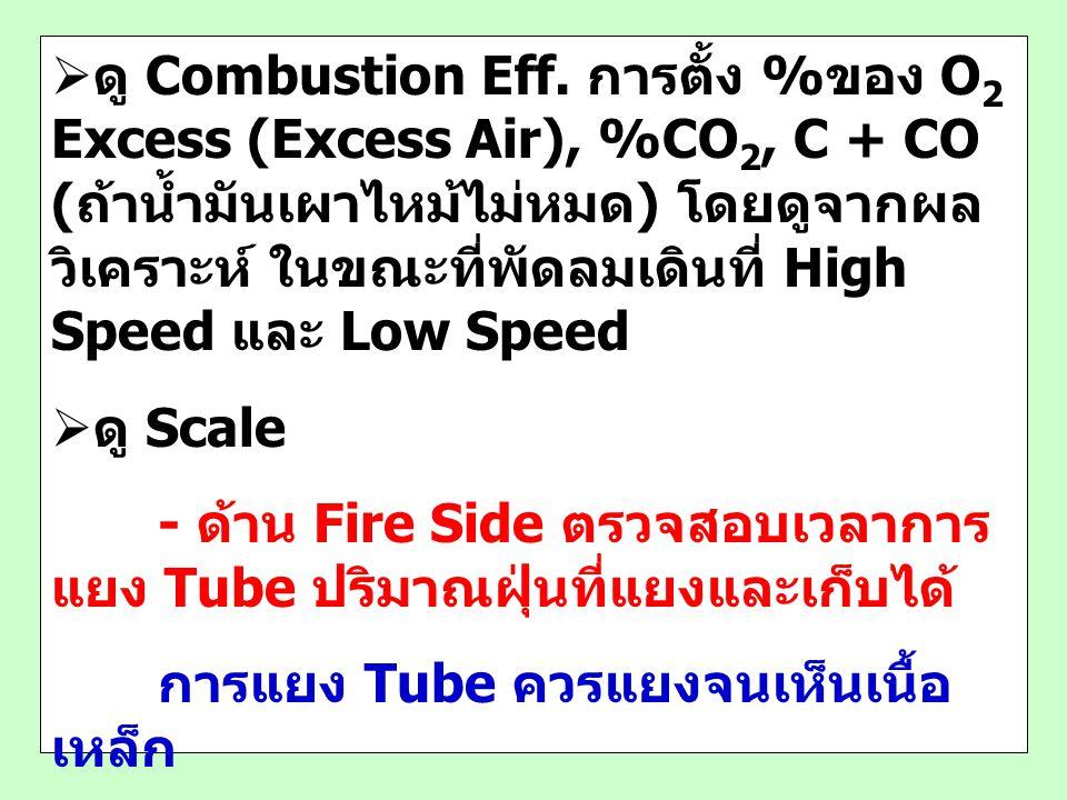 ดู Combustion Eff. การตั้ง %ของ O2 Excess (Excess Air), %CO2, C + CO (ถ้าน้ำมันเผาไหม้ไม่หมด) โดยดูจากผลวิเคราะห์ ในขณะที่พัดลมเดินที่ High Speed และ Low Speed