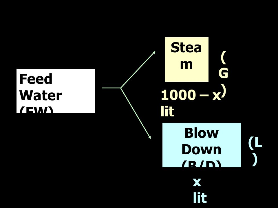 Steam t2 (G) Feed Water (FW) t1 1000 – x lit Blow Down (B/D) t3 (L) x lit
