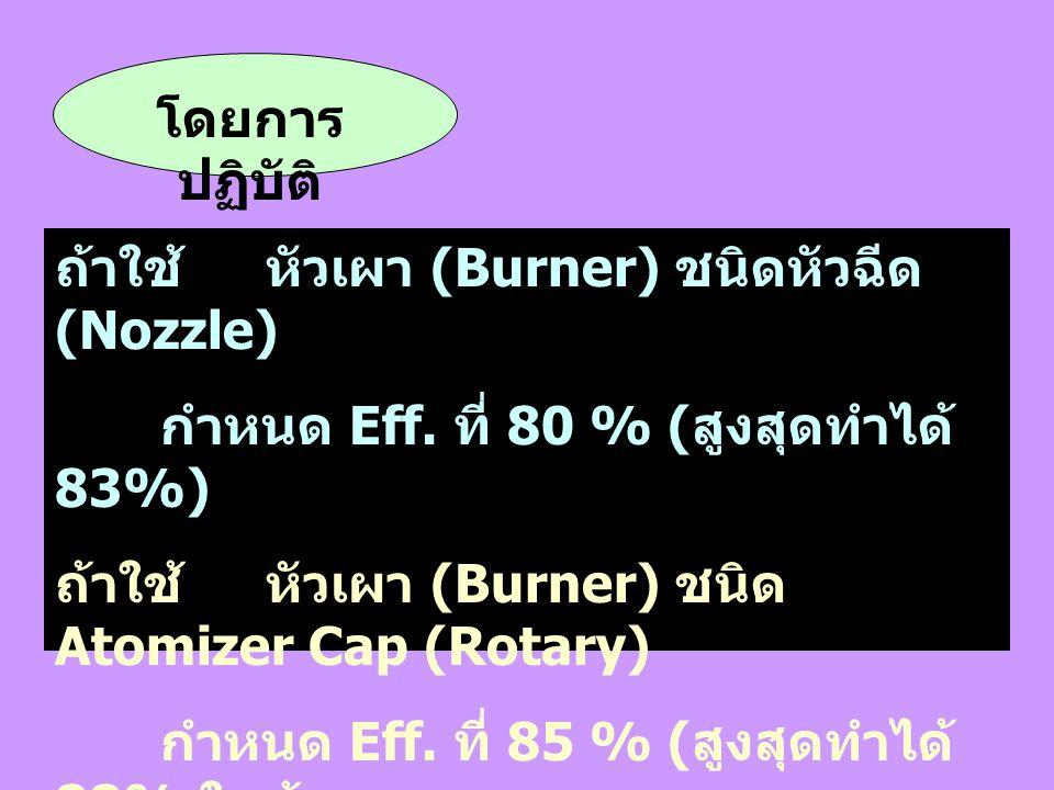 โดยการปฏิบัติ ถ้าใช้ หัวเผา (Burner) ชนิดหัวฉีด (Nozzle) กำหนด Eff. ที่ 80 % (สูงสุดทำได้ 83%) ถ้าใช้ หัวเผา (Burner) ชนิด Atomizer Cap (Rotary)