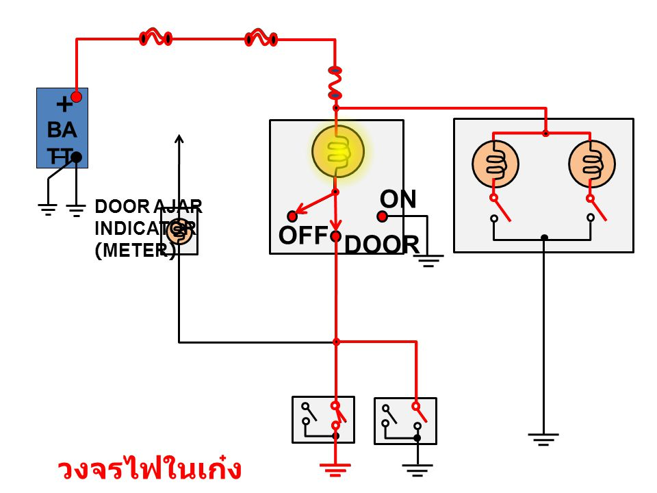 + BATT ON DOOR AJAR INDICATOR (METER) OFF DOOR วงจรไฟในเก๋ง