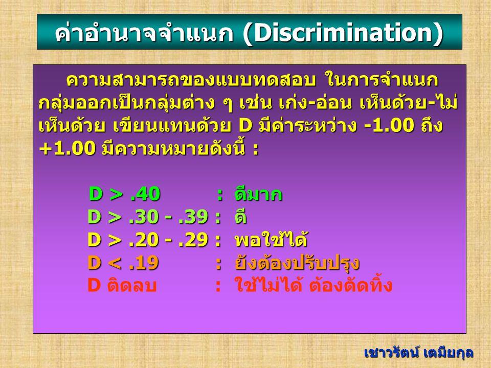 ค่าอำนาจจำแนก (Discrimination)
