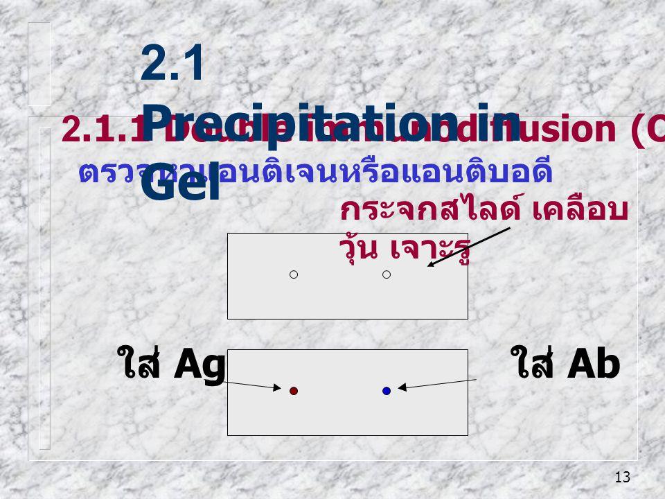 2.1 Precipitation in Gel ใส่ Ag ใส่ Ab