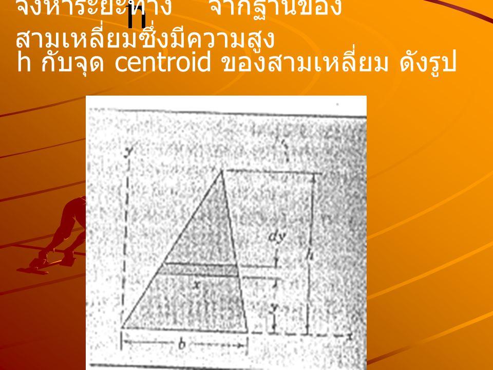 จงหาระยะทาง จากฐานของสามเหลี่ยมซึ่งมีความสูง
