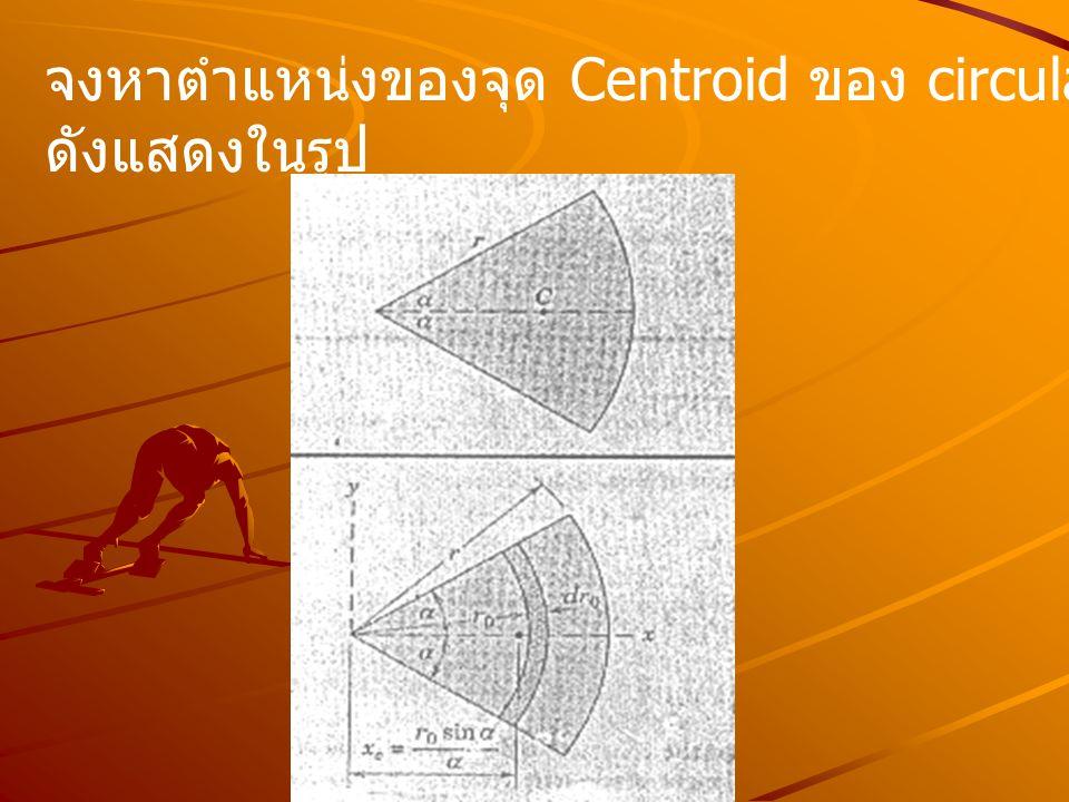 จงหาตำแหน่งของจุด Centroid ของ circular arc