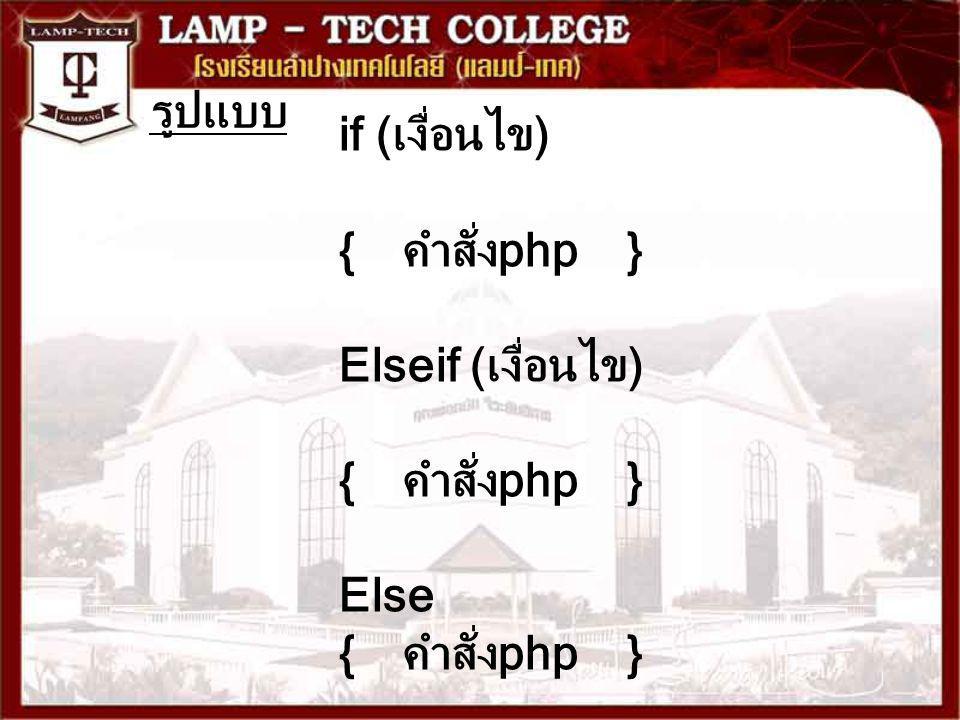 รูปแบบ if (เงื่อนไข) { คำสั่งphp } Elseif (เงื่อนไข) Else { คำสั่งphp }