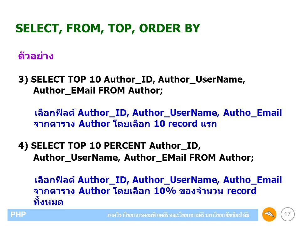 SELECT, FROM, TOP, ORDER BY