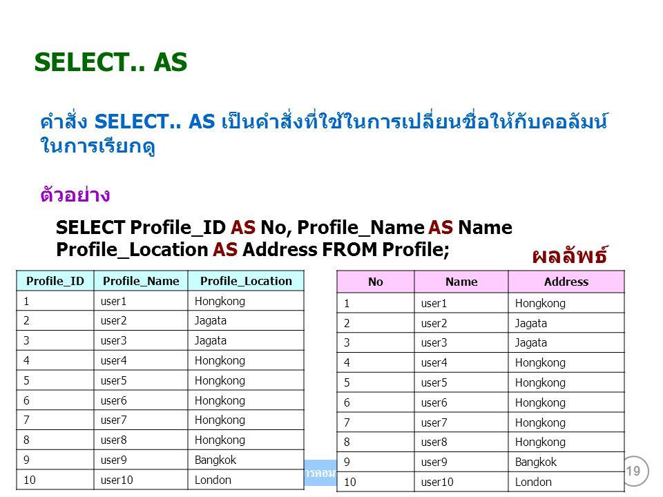 SELECT.. AS คำสั่ง SELECT.. AS เป็นคำสั่งที่ใช้ในการเปลี่ยนชื่อให้กับคอลัมน์ ในการเรียกดู ตัวอย่าง.
