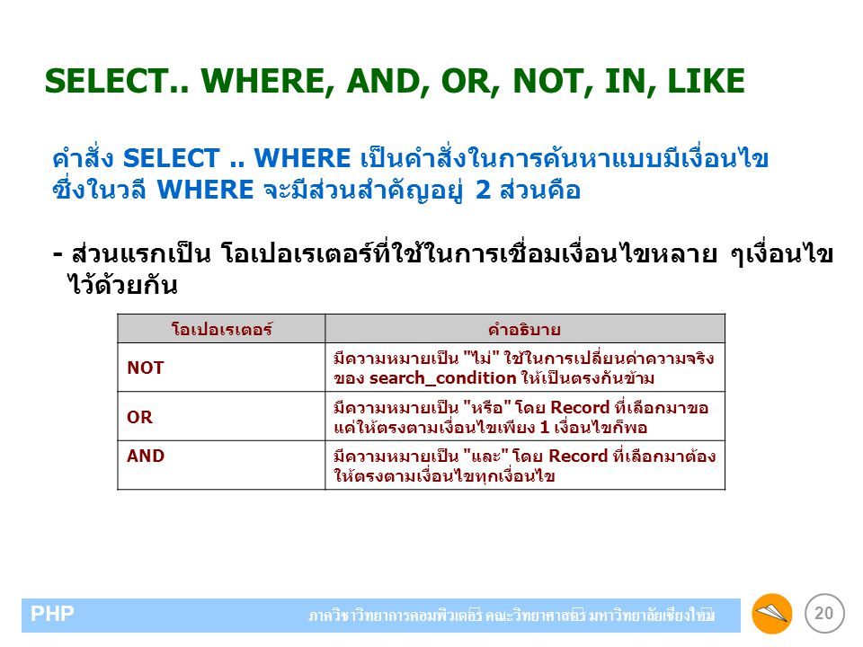 SELECT.. WHERE, AND, OR, NOT, IN, LIKE