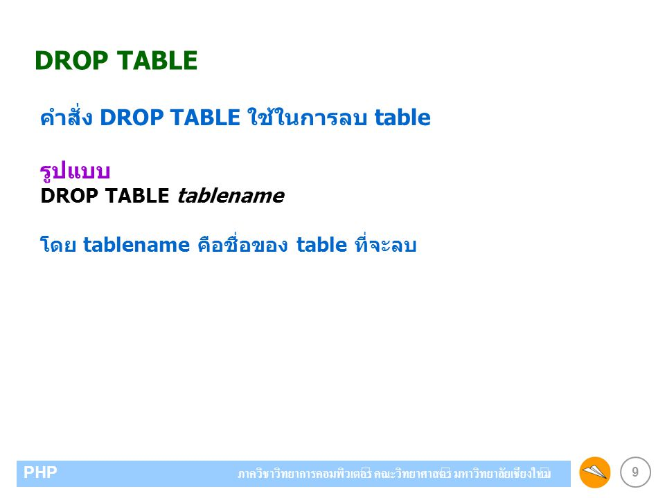 DROP TABLE คำสั่ง DROP TABLE ใช้ในการลบ table รูปแบบ