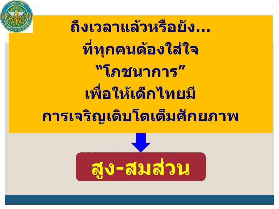 ถึงเวลาแล้วหรือยัง… ที่ทุกคนต้องใส่ใจ โภชนาการ เพื่อให้เด็กไทยมี การเจริญเติบโตเต็มศักยภาพ