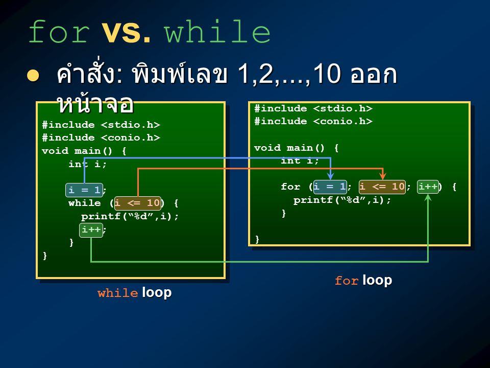 for vs. while คำสั่ง: พิมพ์เลข 1,2,...,10 ออกหน้าจอ for loop