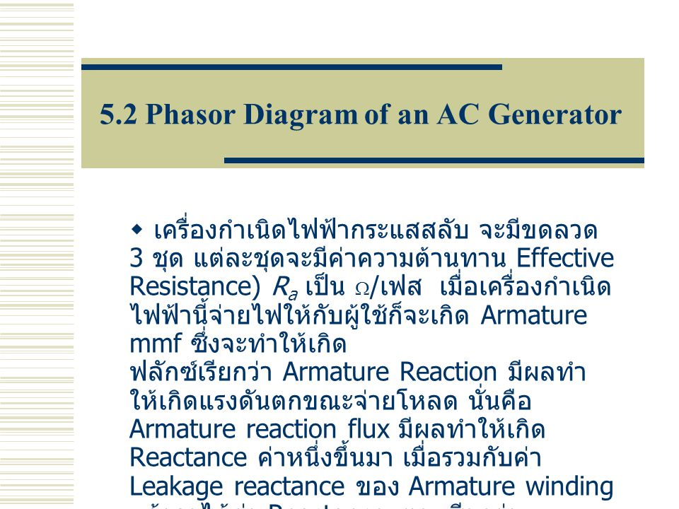 5.2 Phasor Diagram of an AC Generator