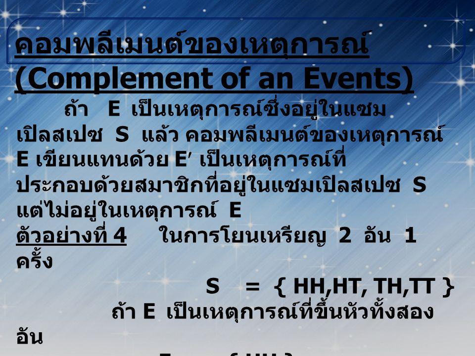คอมพลีเมนต์ของเหตุการณ์ (Complement of an Events)