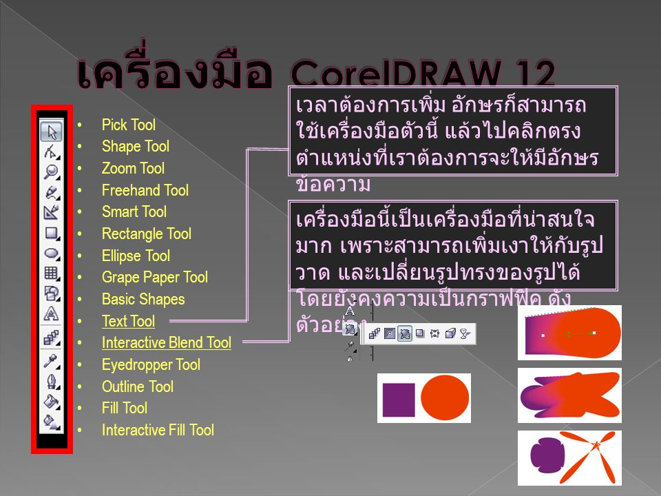 เครื่องมือ CorelDRAW 12 เวลาต้องการเพิ่ม อักษรก็สามารถใช้เครื่องมือตัวนี้ แล้วไปคลิกตรงตำแหน่งที่เราต้องการจะให้มีอักษรข้อความ.