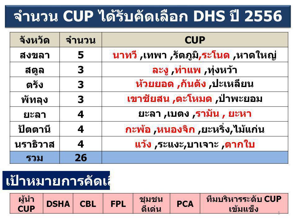จำนวน CUP ได้รับคัดเลือก DHS ปี 2556