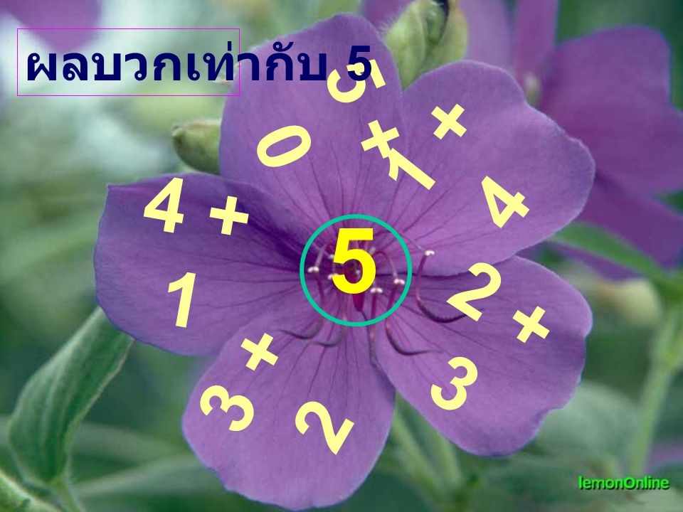ผลบวกเท่ากับ 5 5 + 0 1 + 4 4 + 1 5 2 + 3 3 + 2